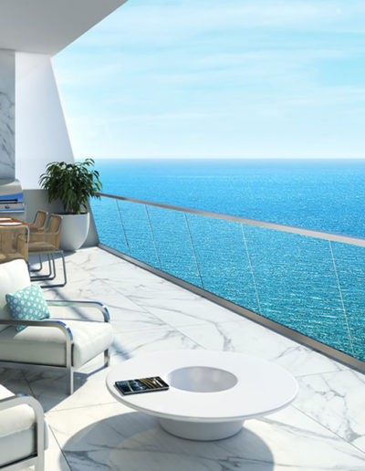 3D rendering of a large terrace with a view of the ocean.