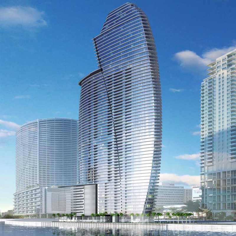 3D rendering view of Aston Martin Residences from the ocean..