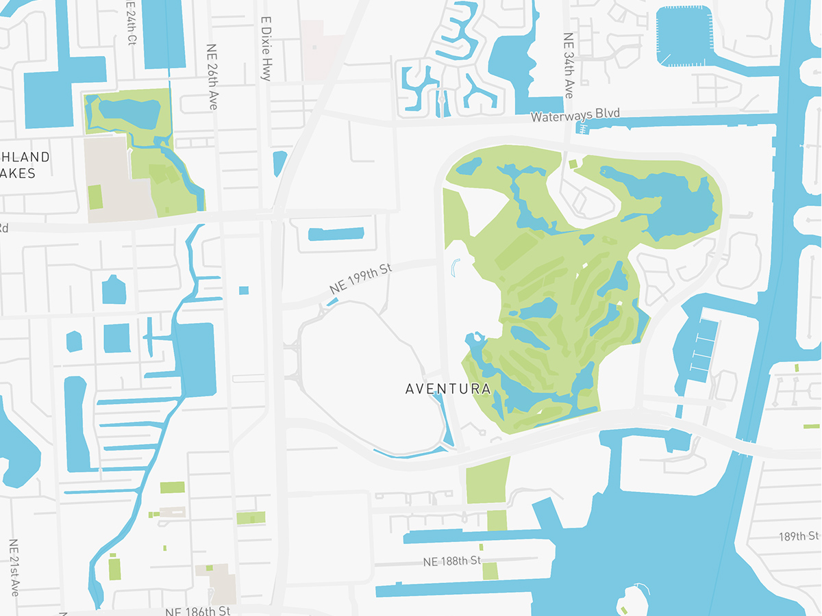 Map illustration of Aventura Florida.