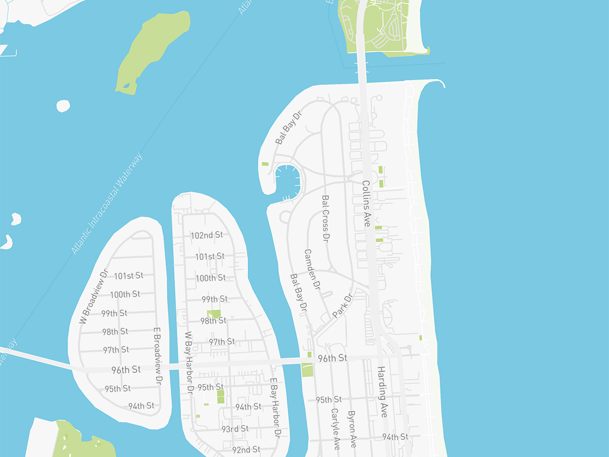 Map illustration of Bal Harbour, Florida.