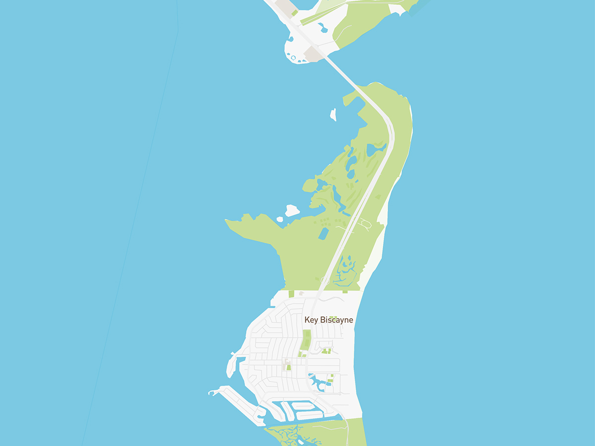 Map illustration of Key Biscayne, Florida.