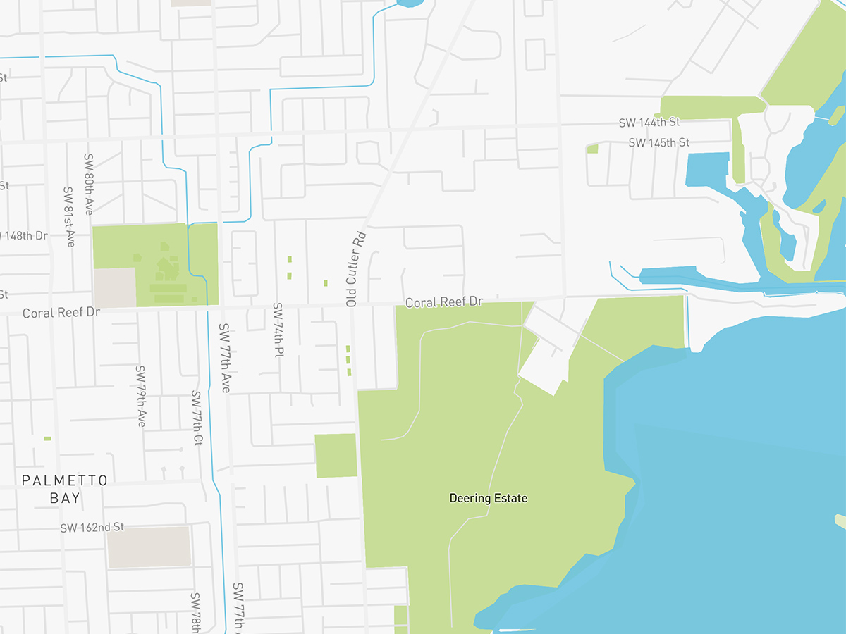 Map illustration of Palmetto Bay, Florida.