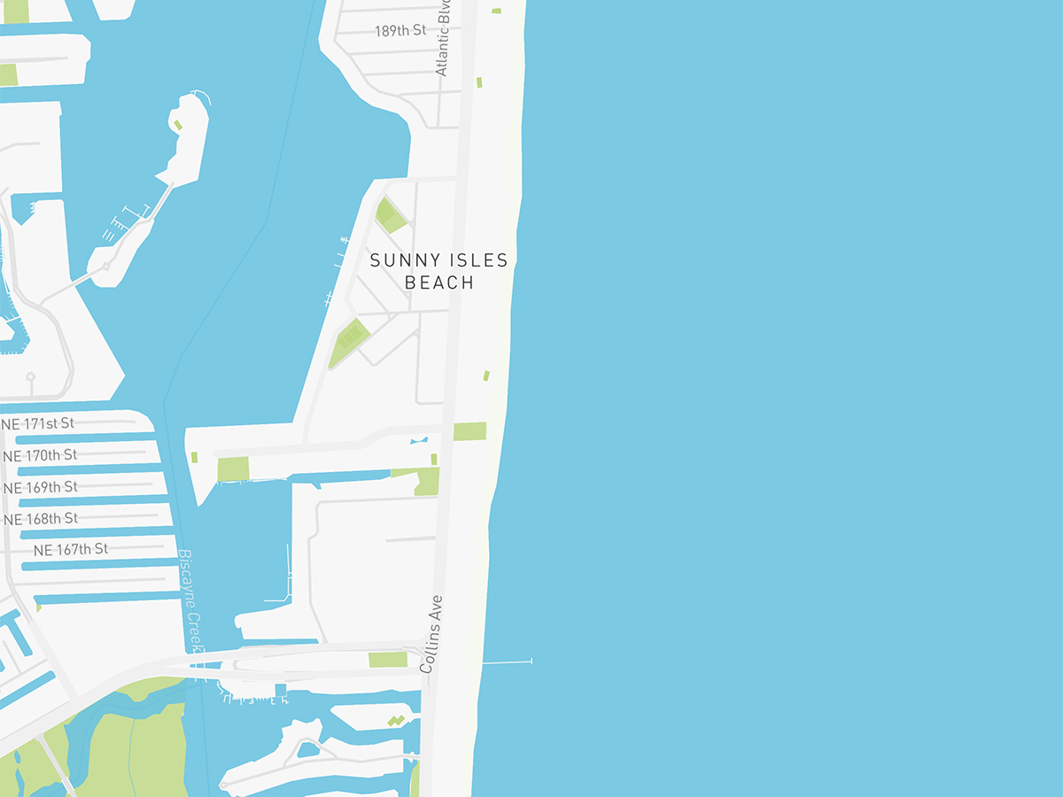 Map illustration of Sunny Isles Beach, Florida.